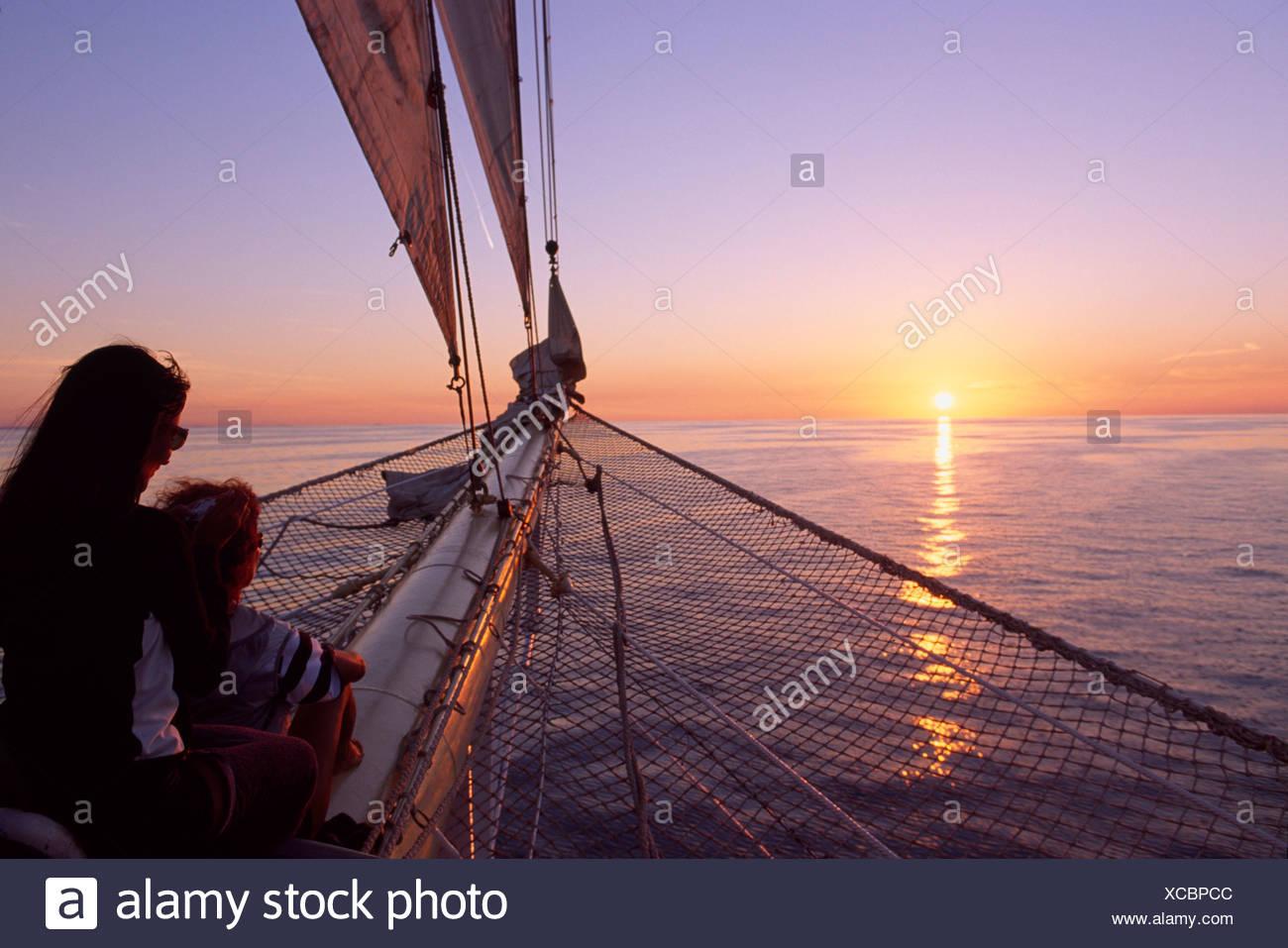 Sunset, sailing ship, Star Flyer, Dalmatia, Dalmatian Coast, Croatia - Stock Image