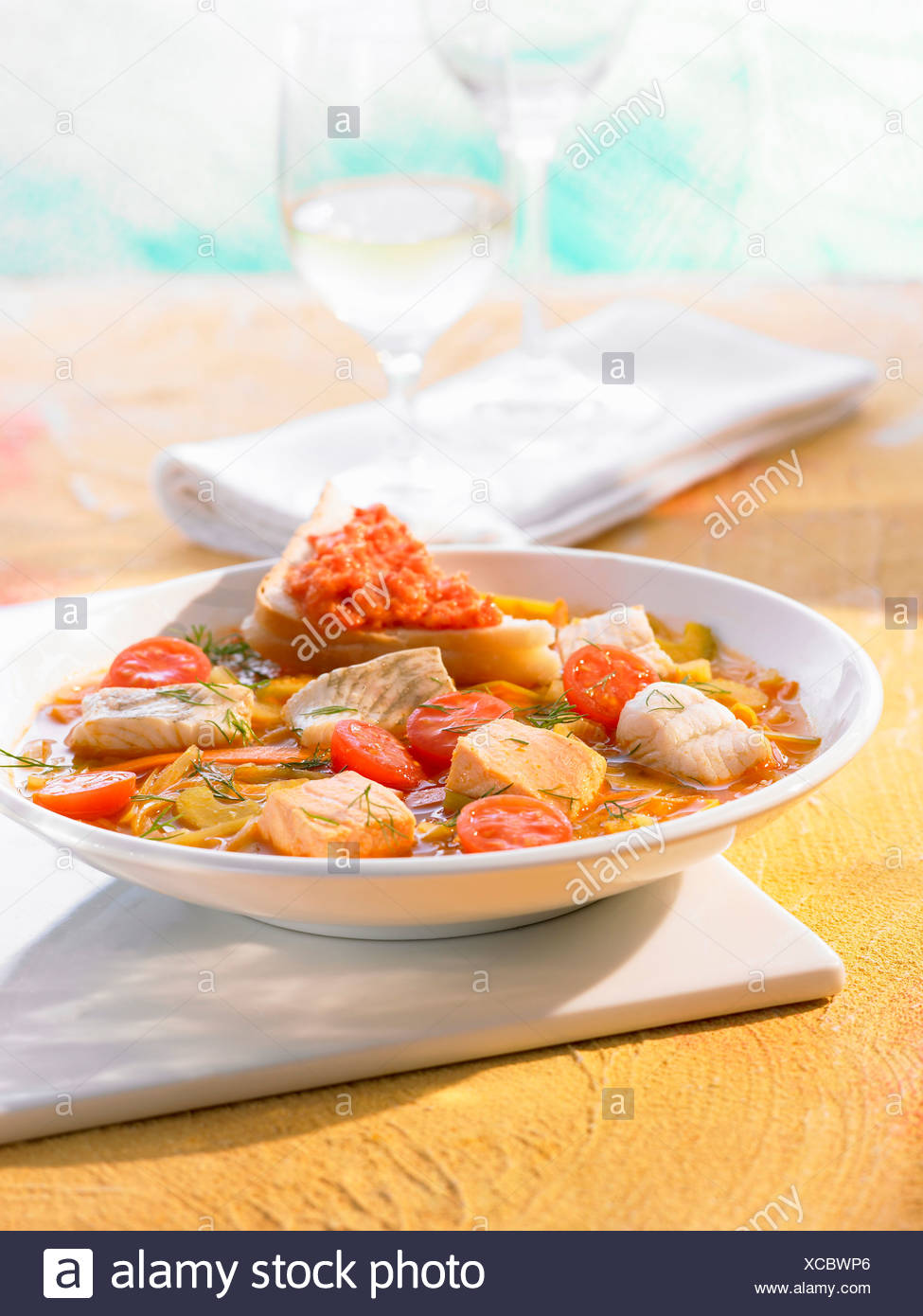 images Mediterranean Fish Stew with Rouille Croutons Recipe