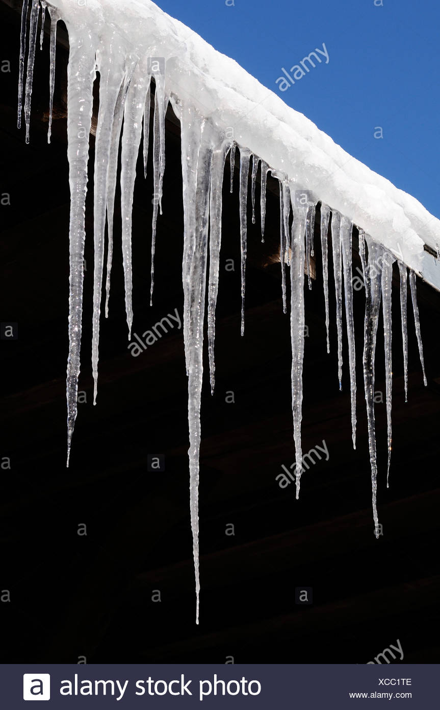 Icicles, safety hazard - Stock Image