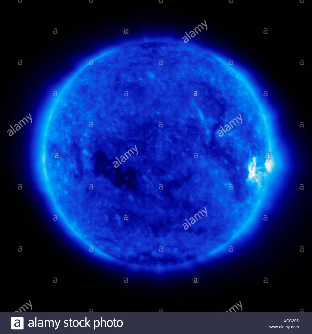 A bright area activity rotates into view limb Sun after period calm on Sun. image was created Solar Heliospheric Observatory Stock Photo