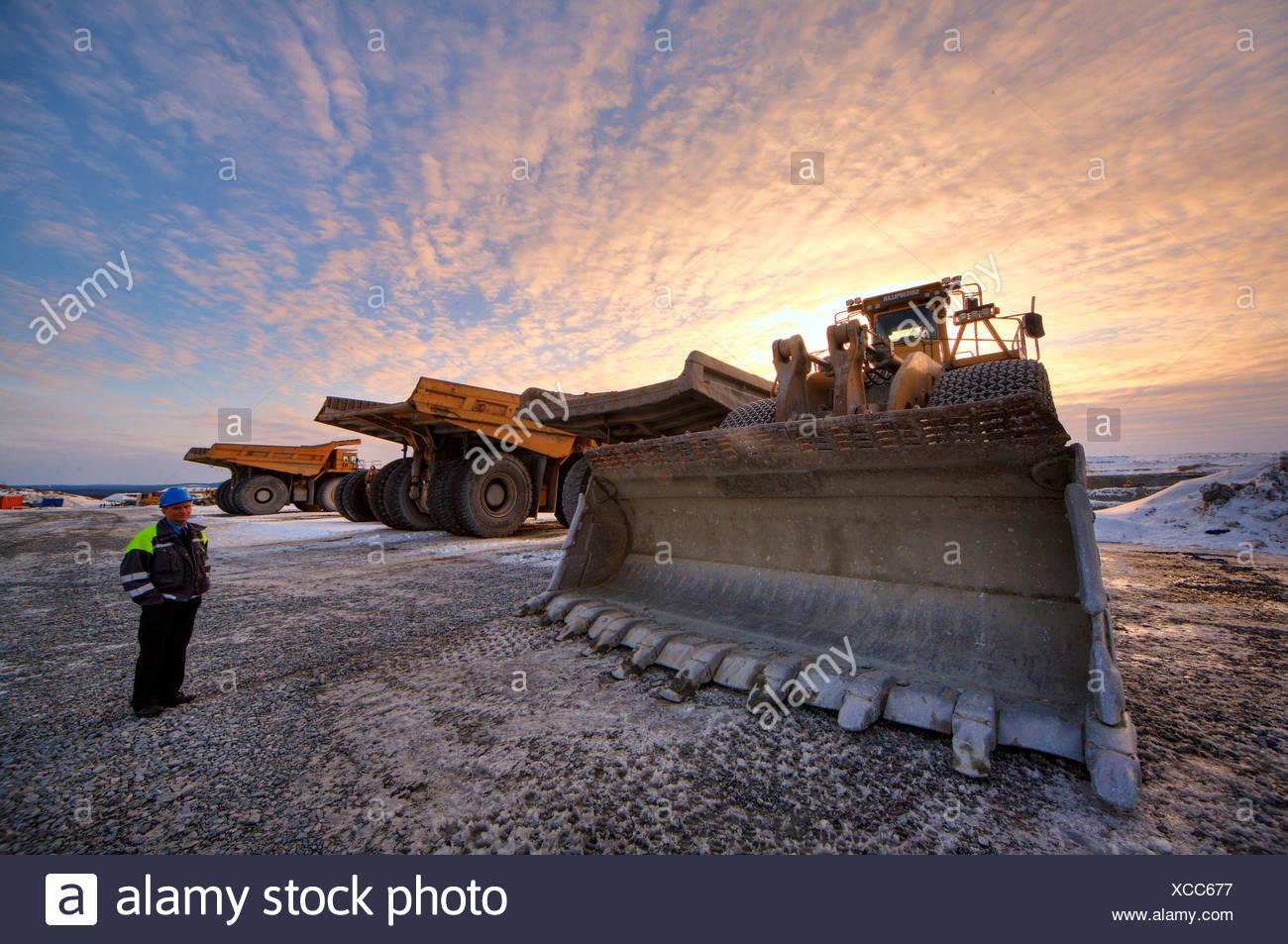 Wheel loader for mines in Gaellivare, Sweden, Scandinavia, Europe - Stock Image