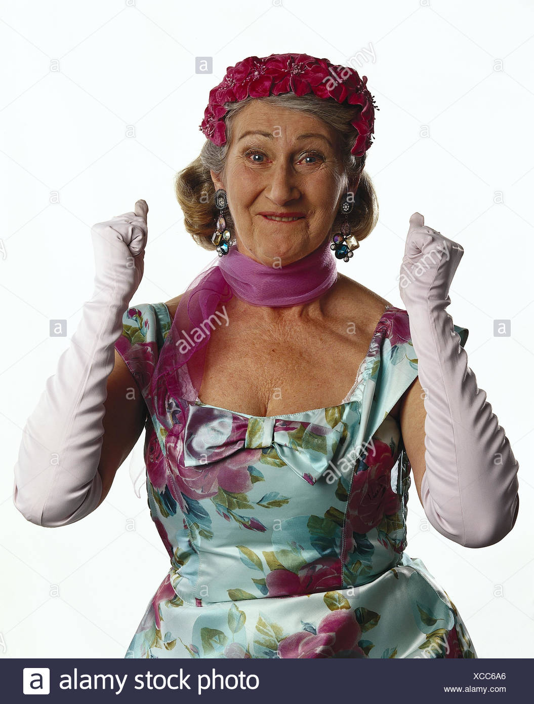 Senior, care, dress, neckerchief, white gloves, gesture, joy, half portrait, mb 125 A6 - Stock Image