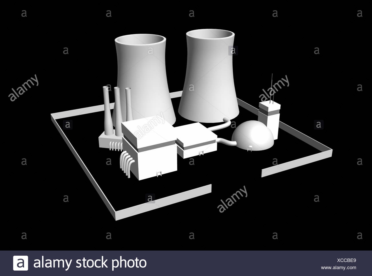 Energy Nuclear Power Plant Black And White Stock Photos Diagram Animation 3d On 01 Image