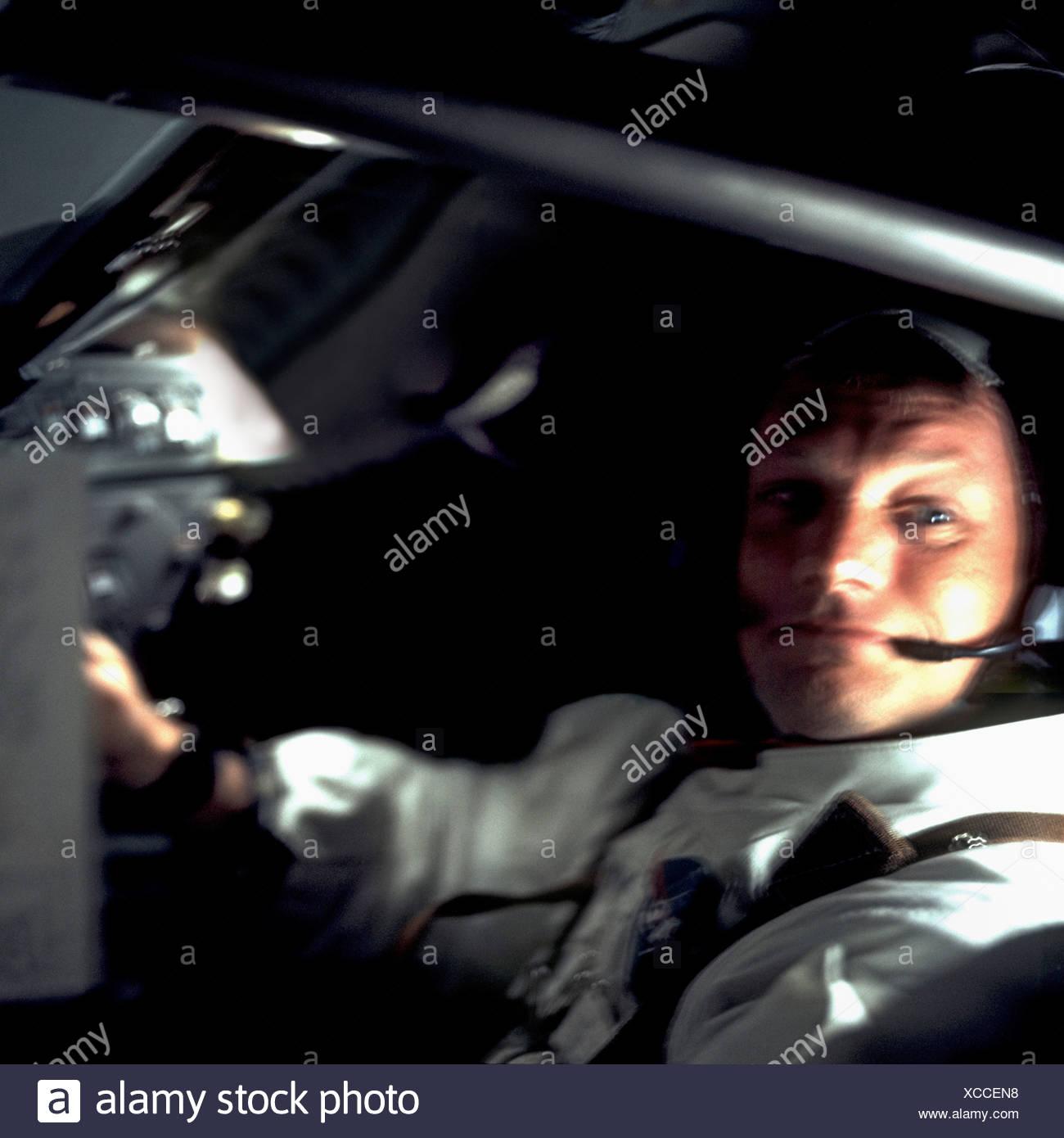 A Confident Neil Armstrong Aboard Apollo 11 Stock Photo