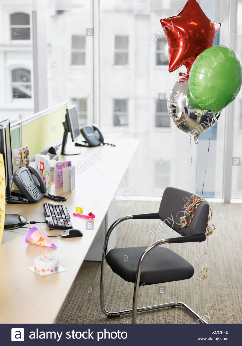 birthday balloons tied to office chair stock photo 283017370 alamy rh alamy com French Balloon Chairs Balloon Chair Flight