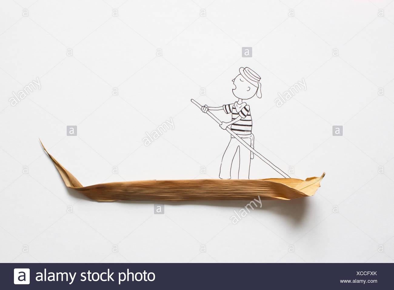 Conceptual gondolier on gondola - Stock Image
