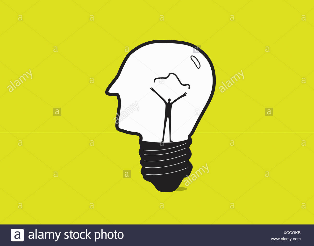 Man forming electric filament inside of human head light bulb - Stock Image