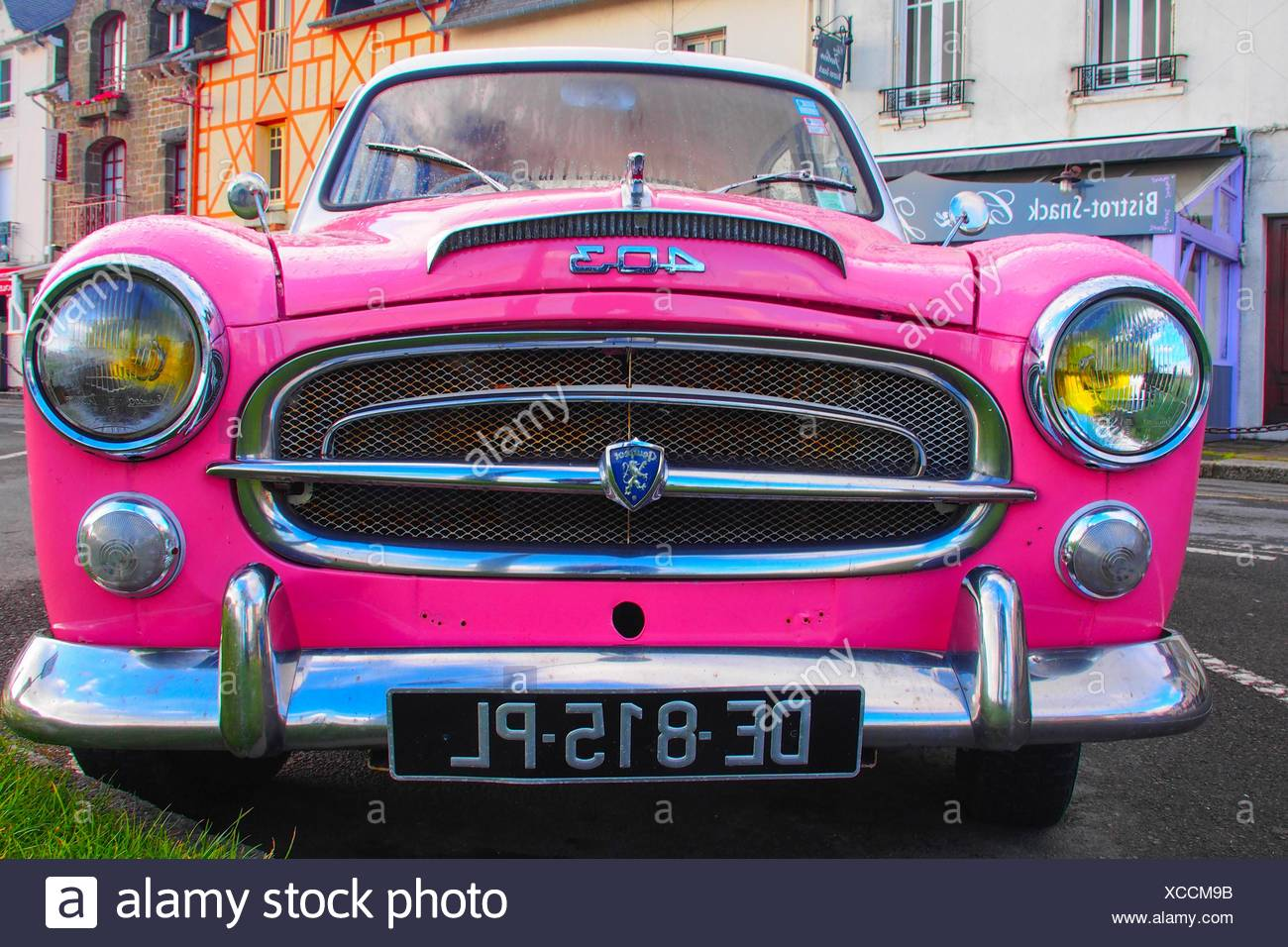France-Brittany- vintage car- Peugeot aeound 1960- at Cancale. - Stock Image