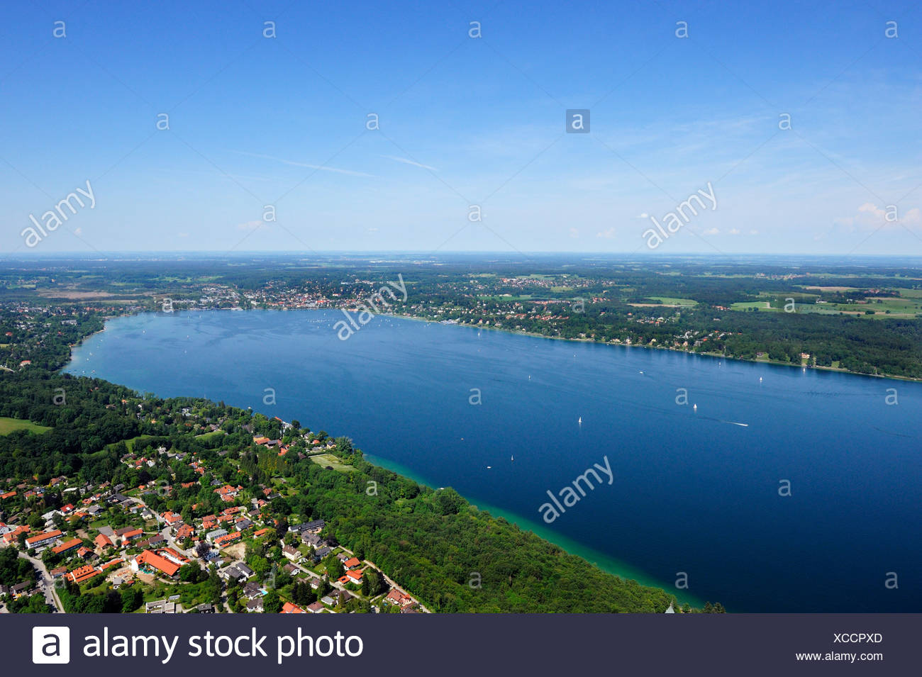 North end of Lake Starnberg, Starnberg, Bavaria, Germany, Europe - Stock Image