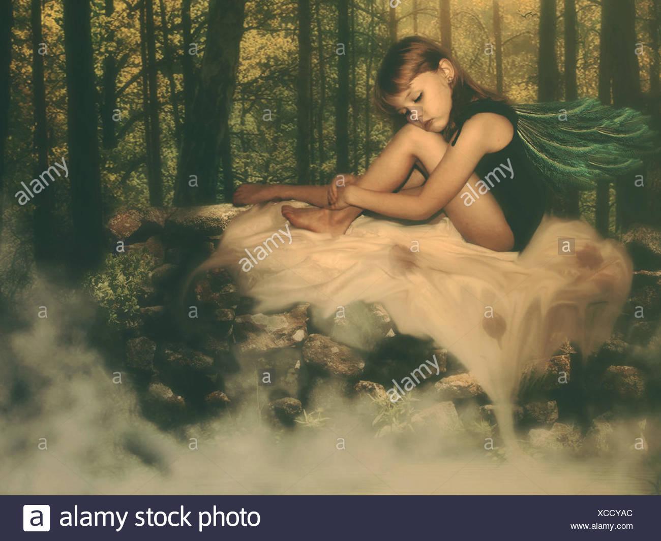 Fairy in woods - Stock Image