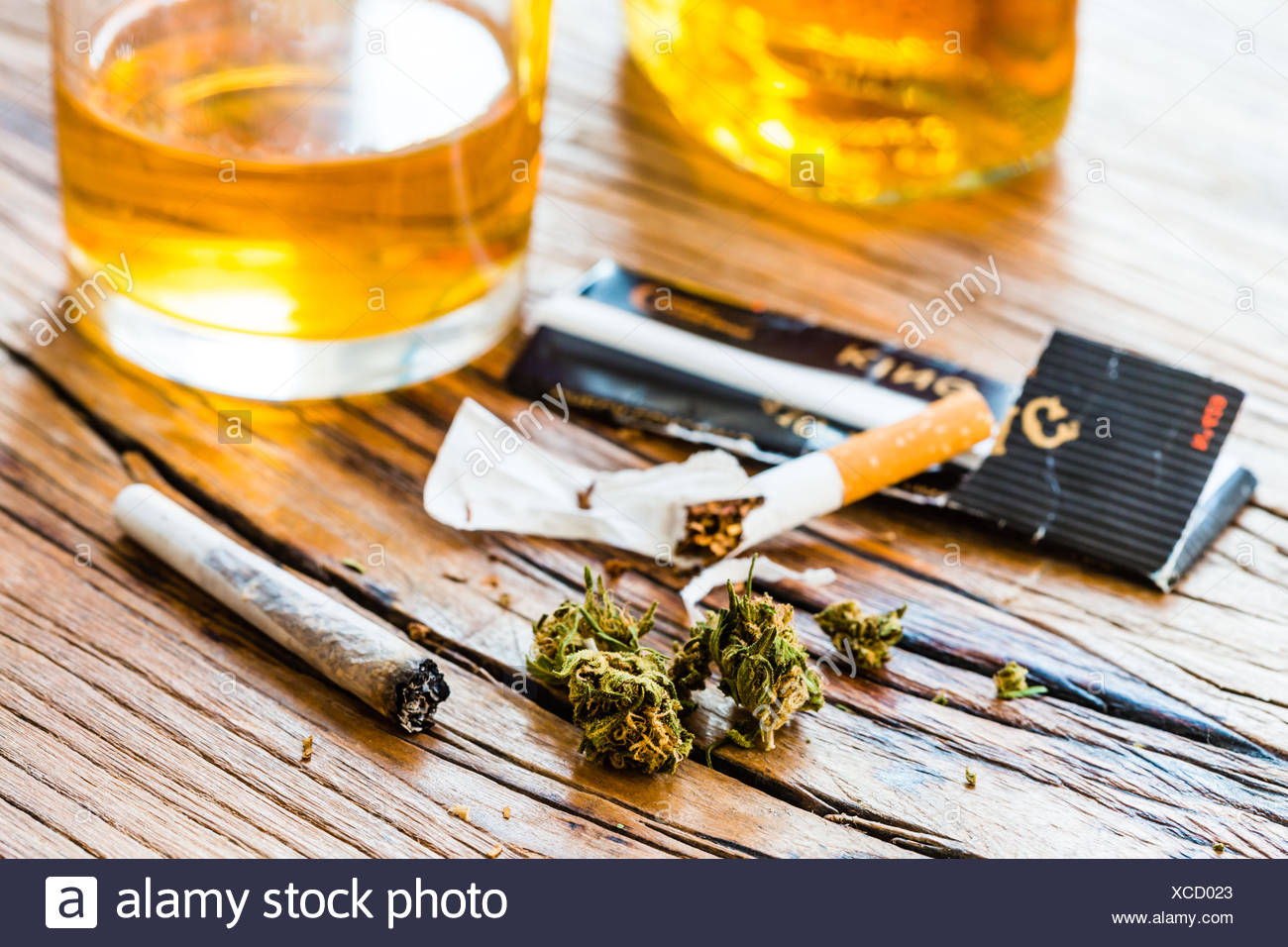 Cannabis and alcohol. - Stock Image