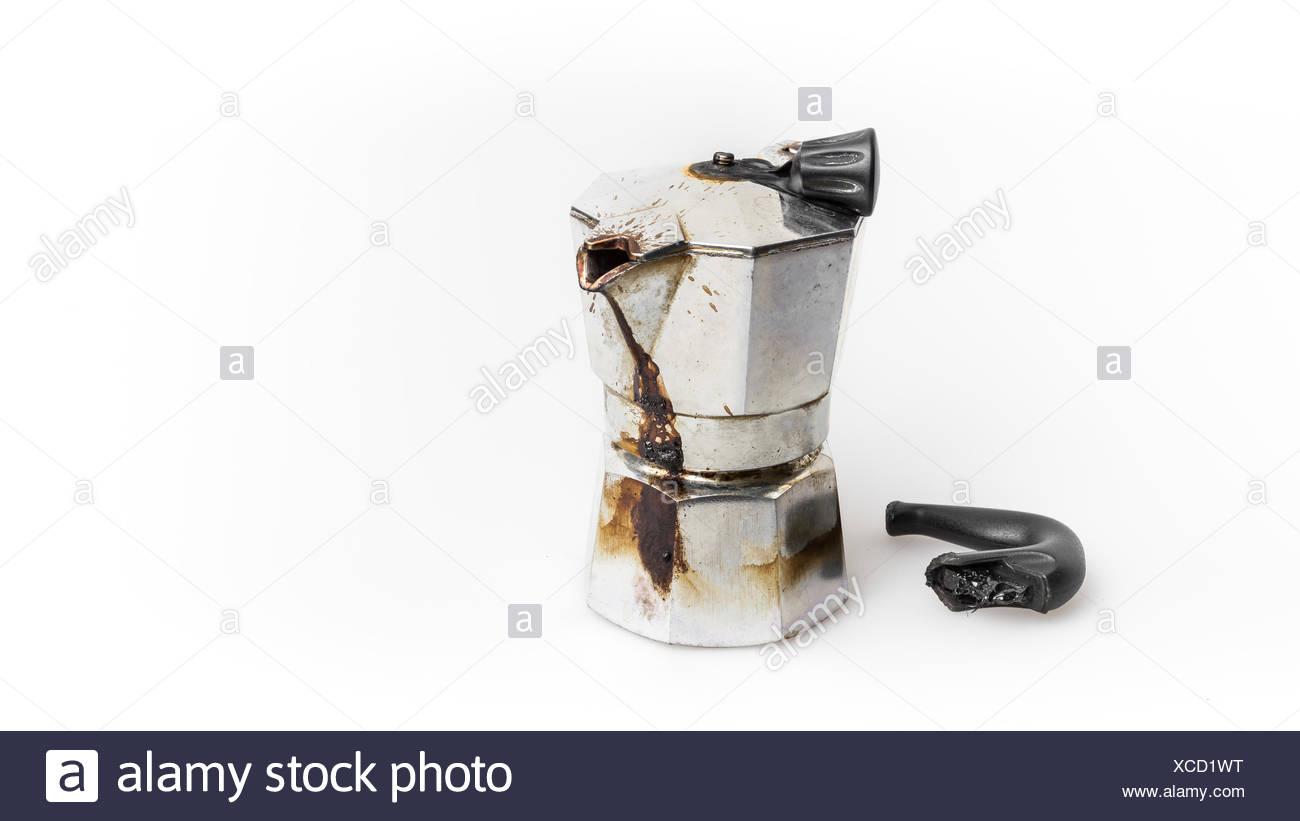 Burned Moka pot - Stock Image