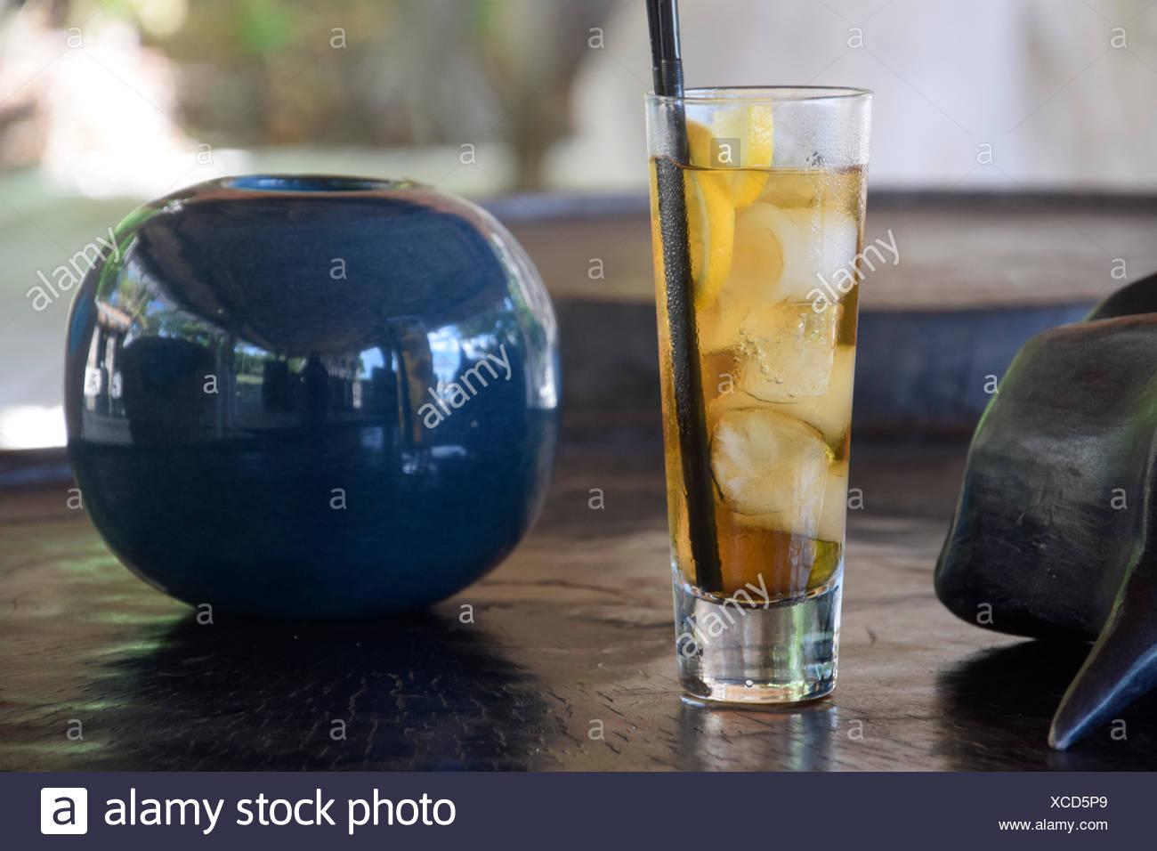 Drinks, ice tea, North Island, Seychelles, Africa, - Stock Image