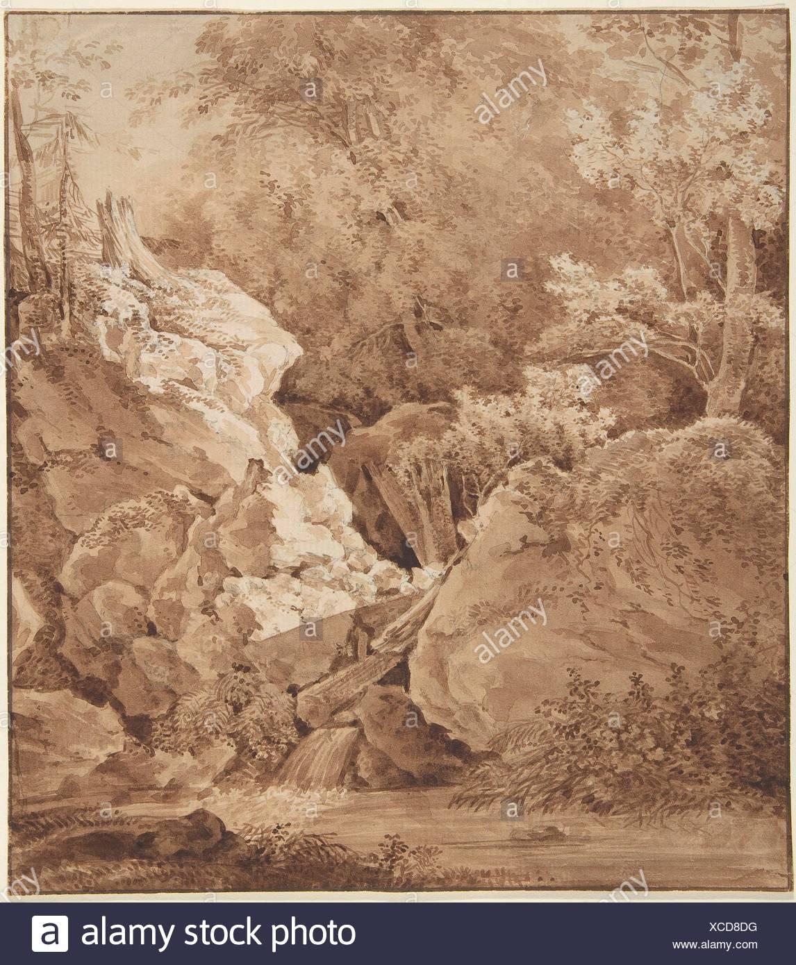 Woodland Scene with Mountain Stream. Artist: Johann Georg von Dillis (German, Grüngiebing 1759-1841 Munich); Date: 1790s; Medium: Pen and brown Stock Photo