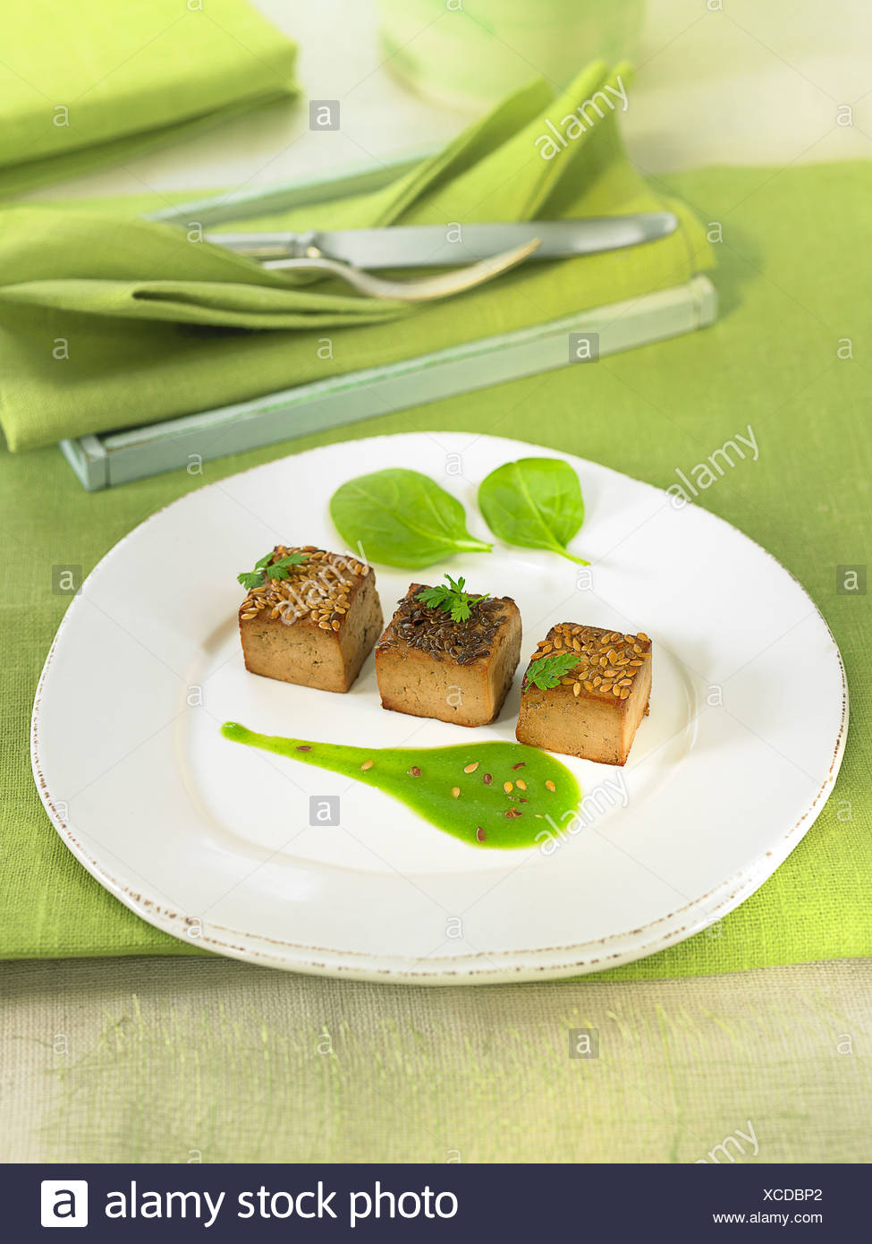 Tofu cubes coated with linseeds ,pureed spinach sauce - Stock Image