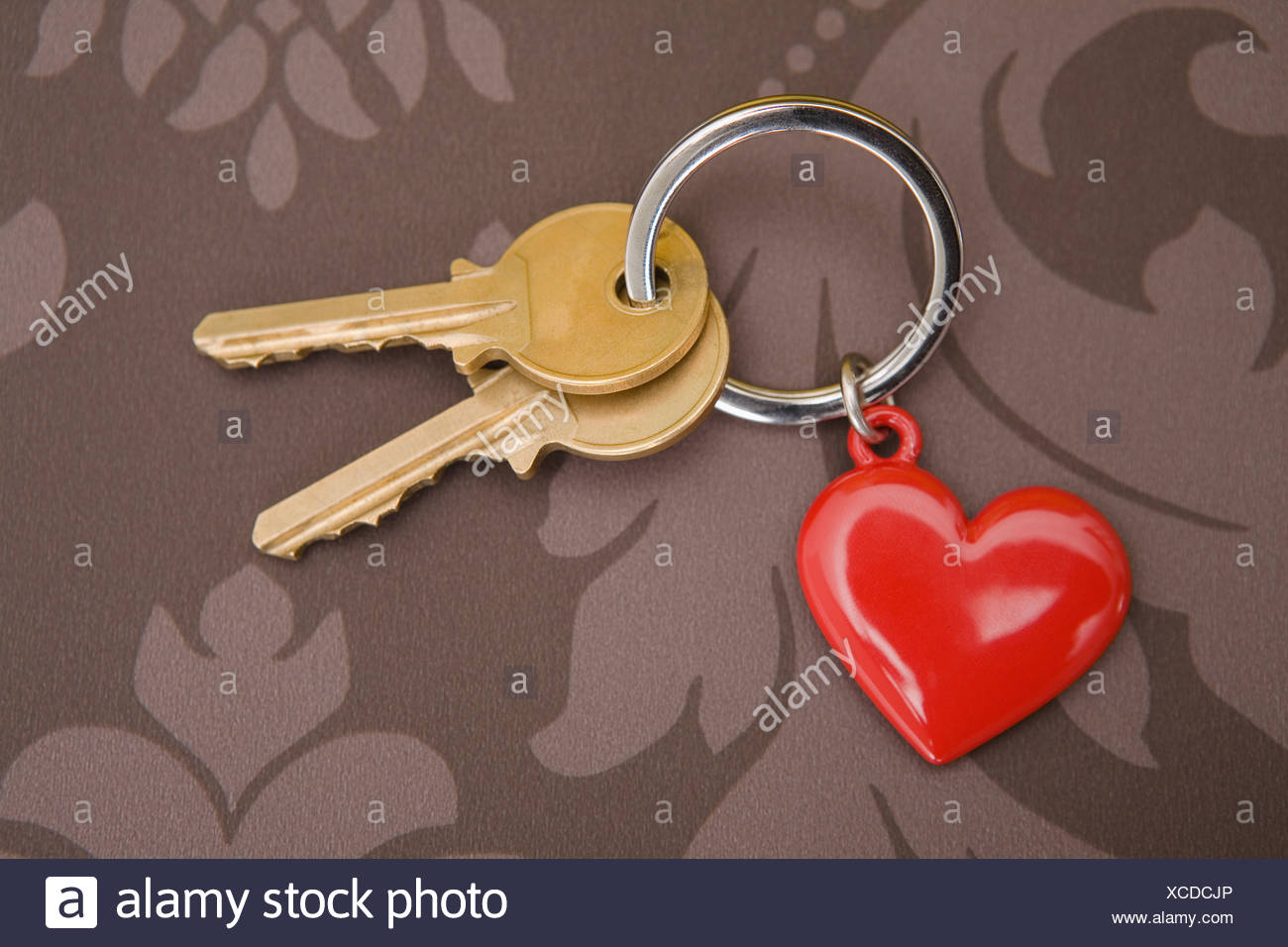 Keys on keyring with heart Stock Photo