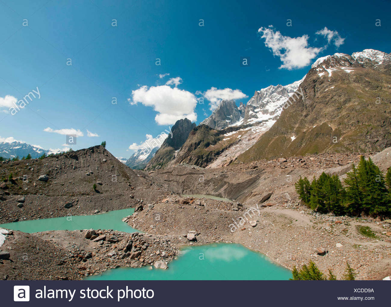 Europe, Italy, Valle d'Aosta, Glacier of Miage - Stock Image
