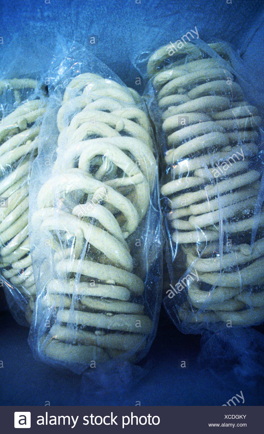 Lye cake, Brezen, deepfroze, Still life, plastic bag, Gefrierbeutel, food, eat, cakes and pastries, frozen, deep-frozen, deep-freezing, freezing, freezing, freezing, deepfreezing, preservation, durability, preserves, long-lasting, iceboundly, cold, food i - Stock Image