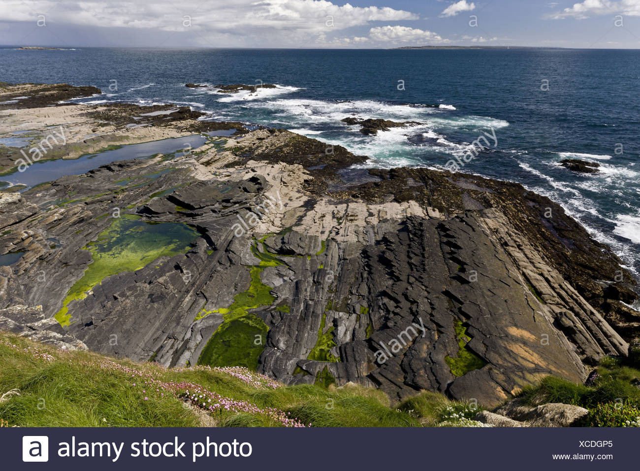 View north from Cliffs of Moher across sandstone and siltstone shore towards Doolin and Galway Bay The Burren County Clare - Stock Image