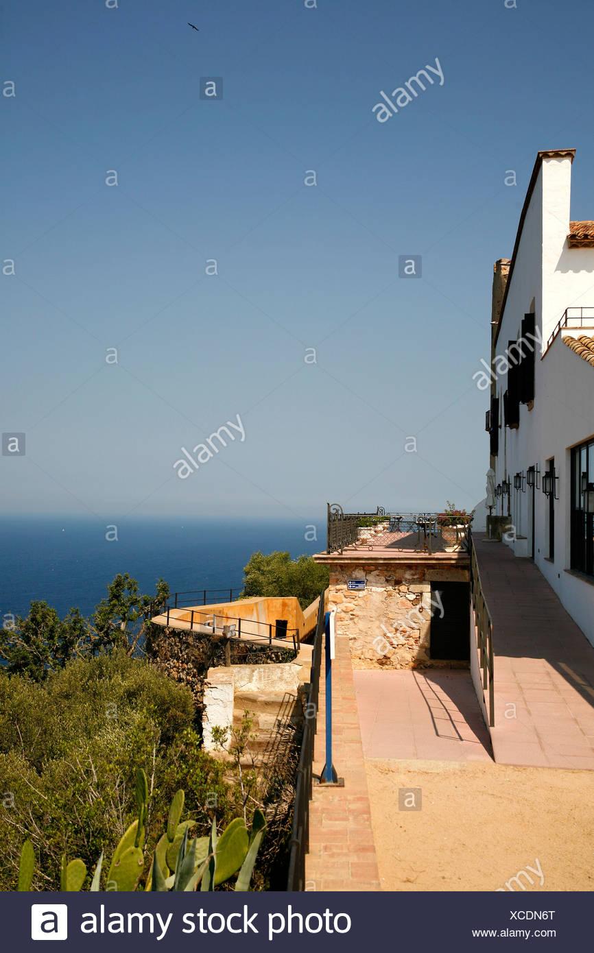 View onto the Mediterranean Sea at Llafranc, Costa Brava, Catalonia, Spain, Europe Stock Photo