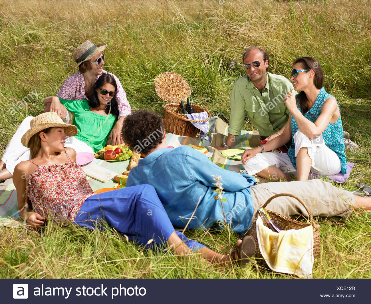 Group of friends having a picnic - Stock Image