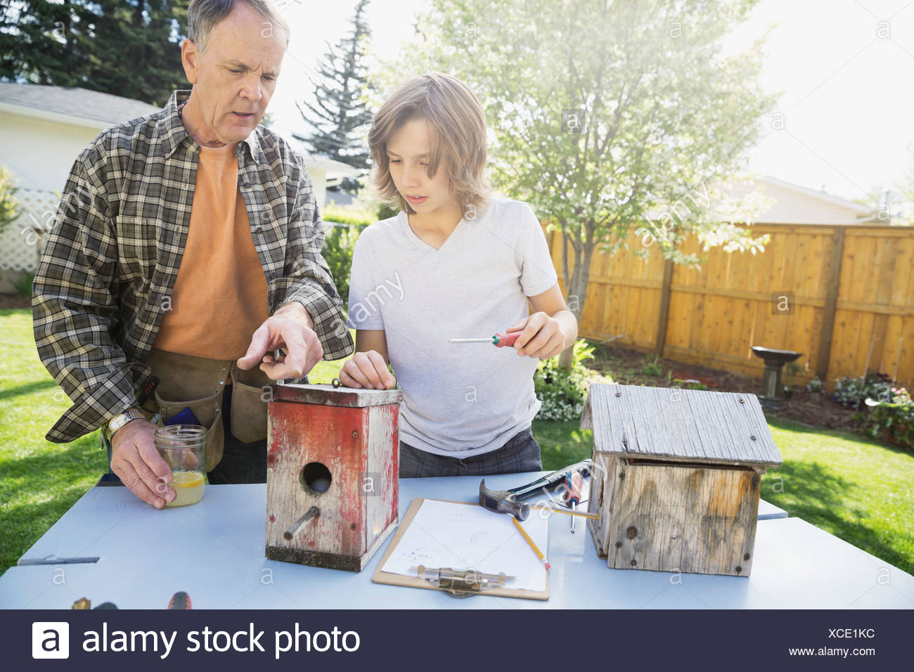 Grandfather and grandson making birdhouses in backyard - Stock Image