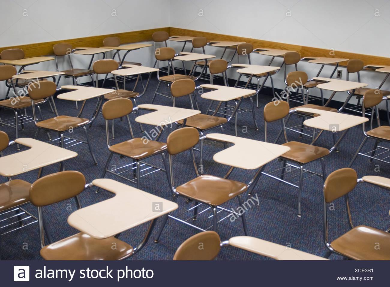 College Classroom With Empty Student Desks Stock Photo 283051749