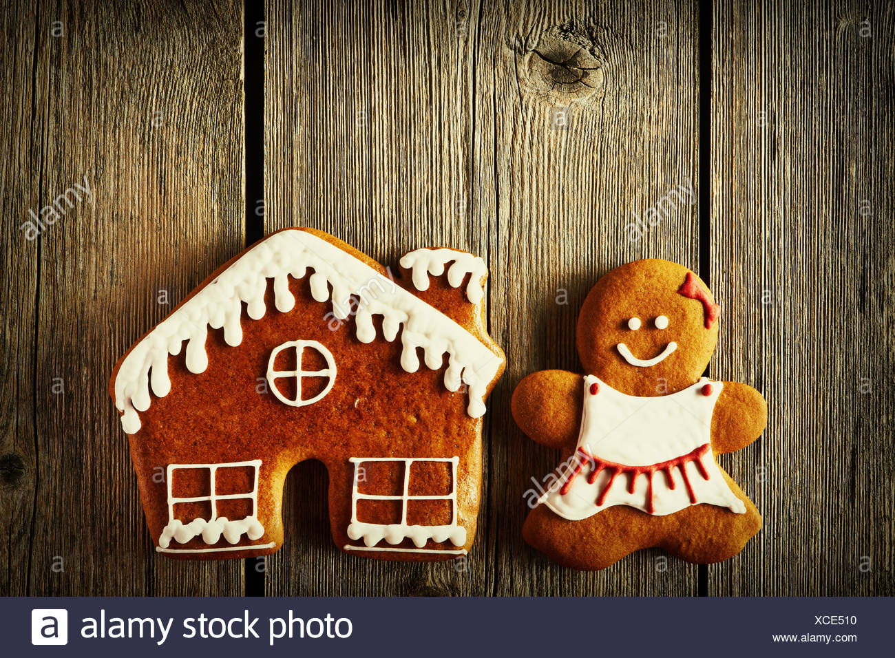 Christmas Gingerbread Girl And House Cookies Stock Photo 283053036