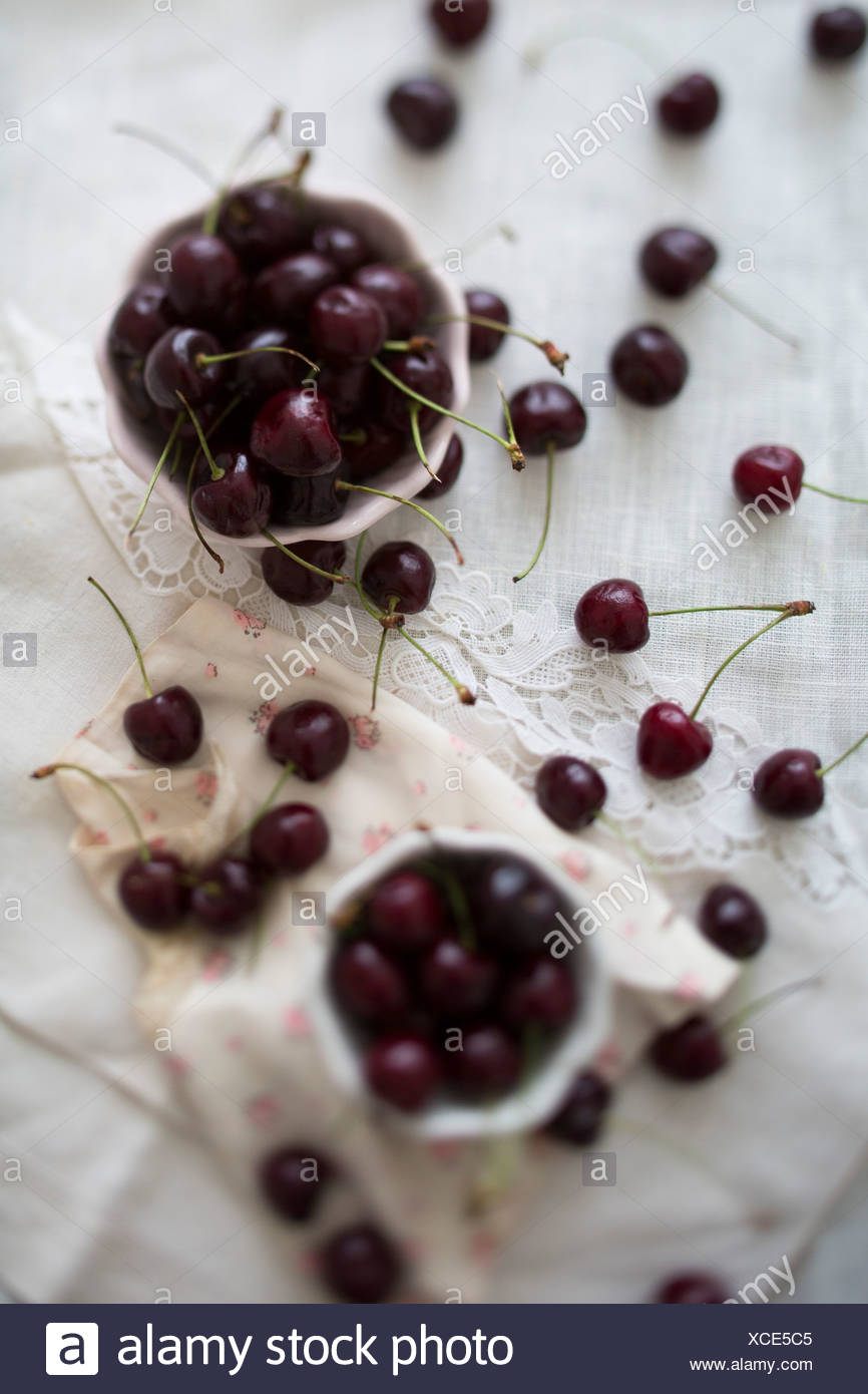 Two bowls of cherries on white lace and pink silk floral napkins - Stock Image