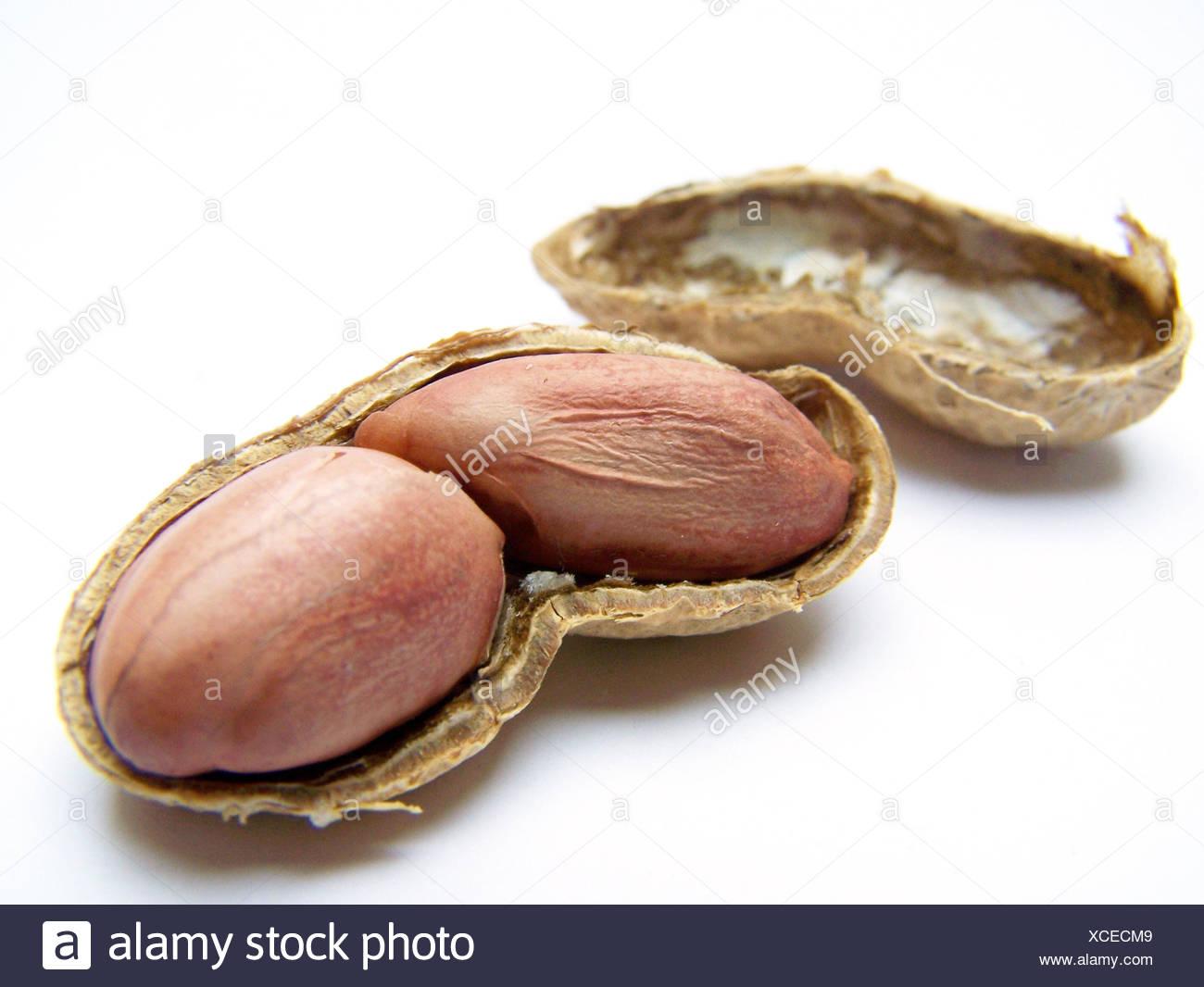 food aliment peanuts bowl crack calories oxidized legume containing fat - Stock Image