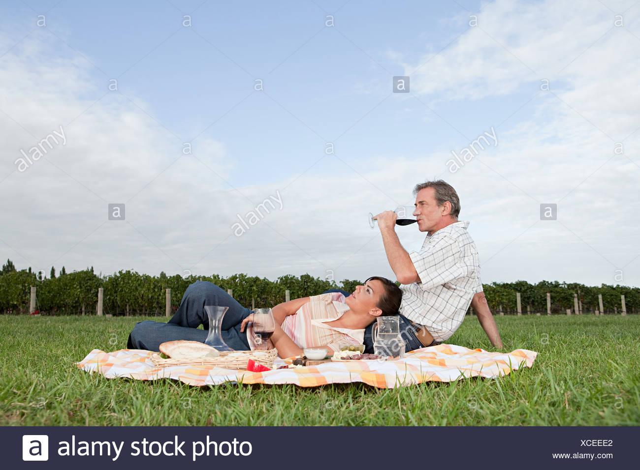 Couple Having Picnic In Vineyard   Stock Image