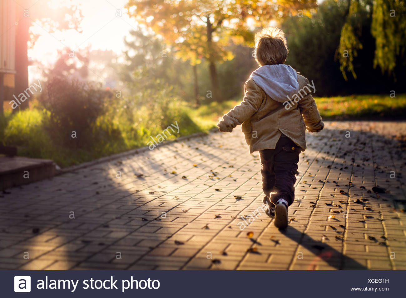 Boy running towards rising sun - Stock Image