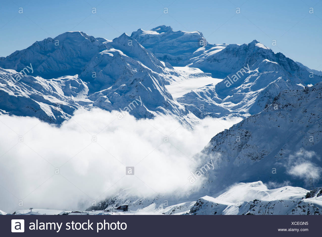 Winter, Grand Combin, winter, canton, VS, Valais, mountain, mountains, Switzerland, Europe, Stock Photo
