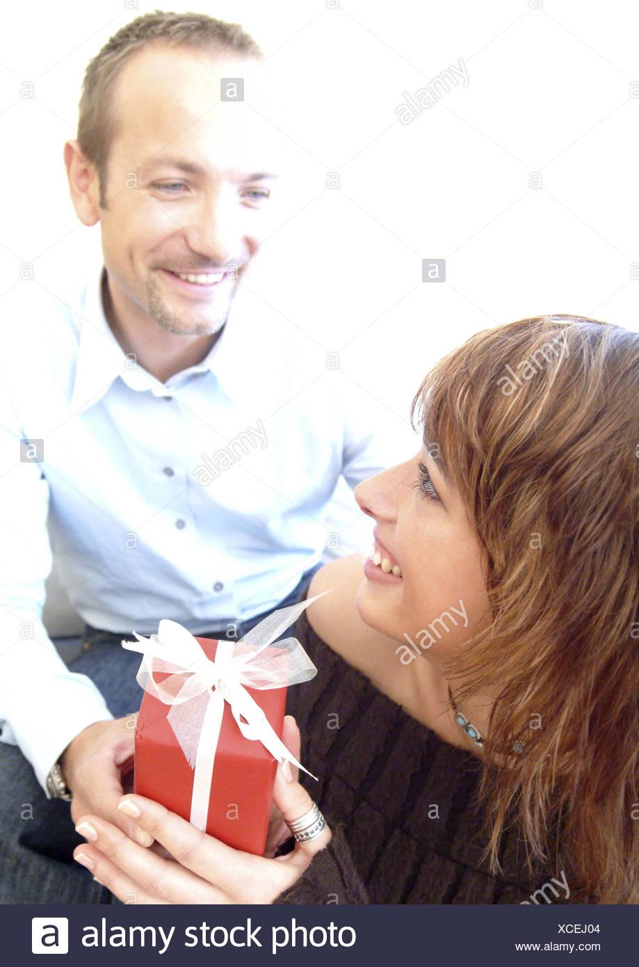 Couple Happy Eye Contact Present Detail Christmas Christmas