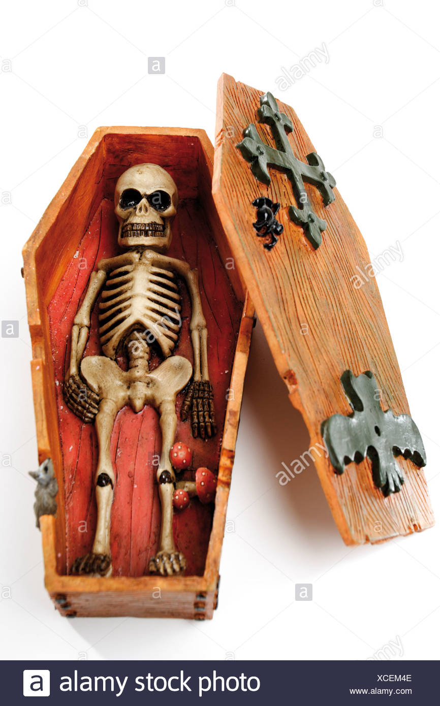 Skeleton in coffin, elevated view - Stock Image