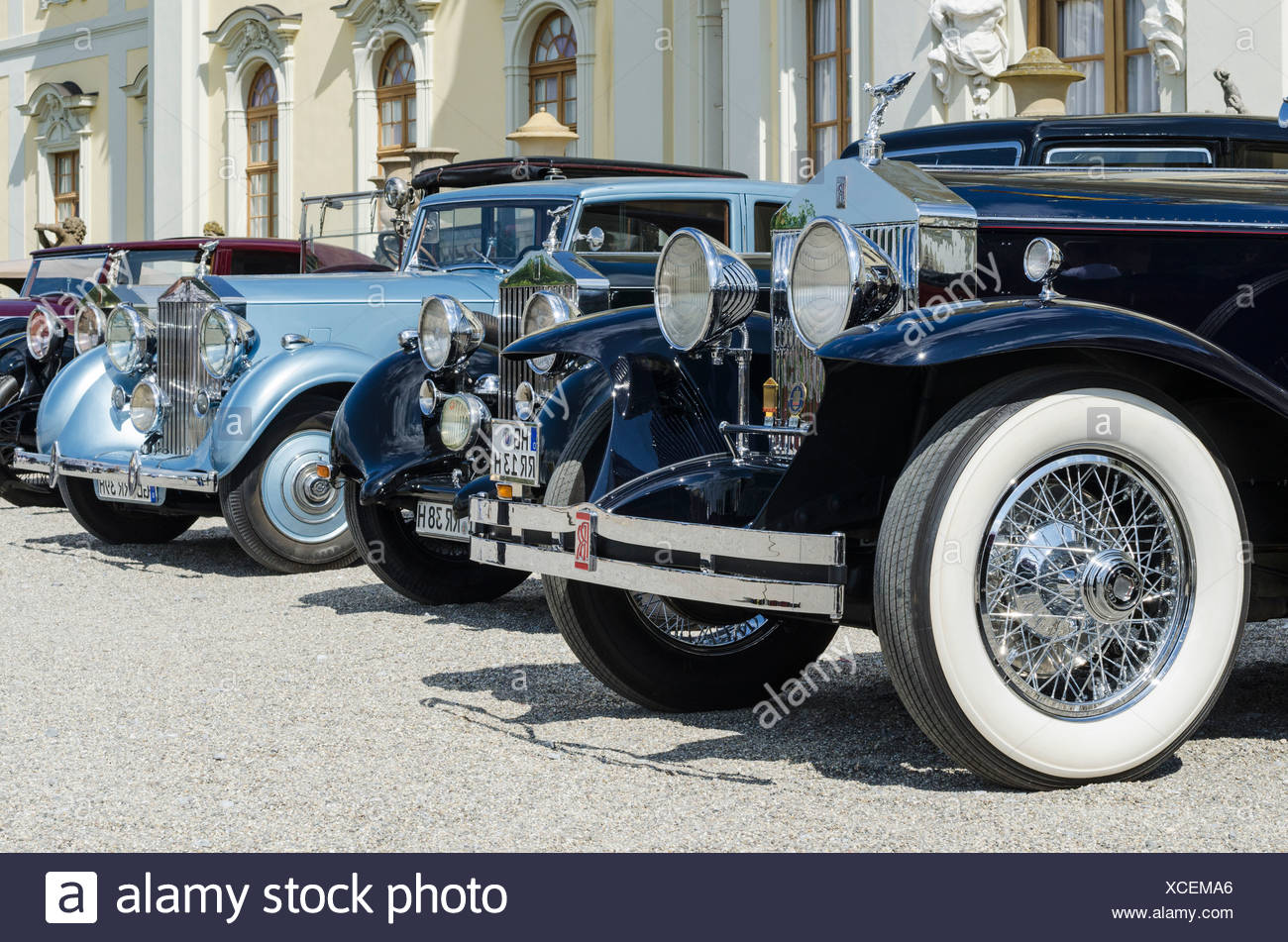 Historic, vintage Rolls-Royce cars are parked in front of Schloss Ludwigsburg Palace, festival of classic cars - Stock Image