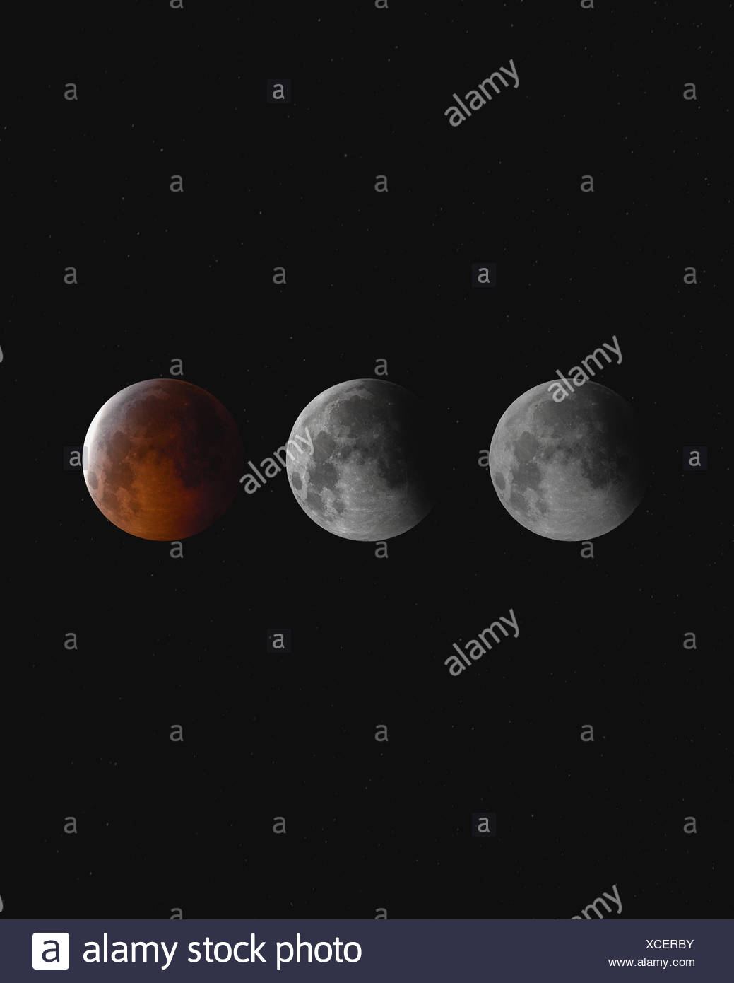Blood moon eclipse at night, England, UK - Stock Image