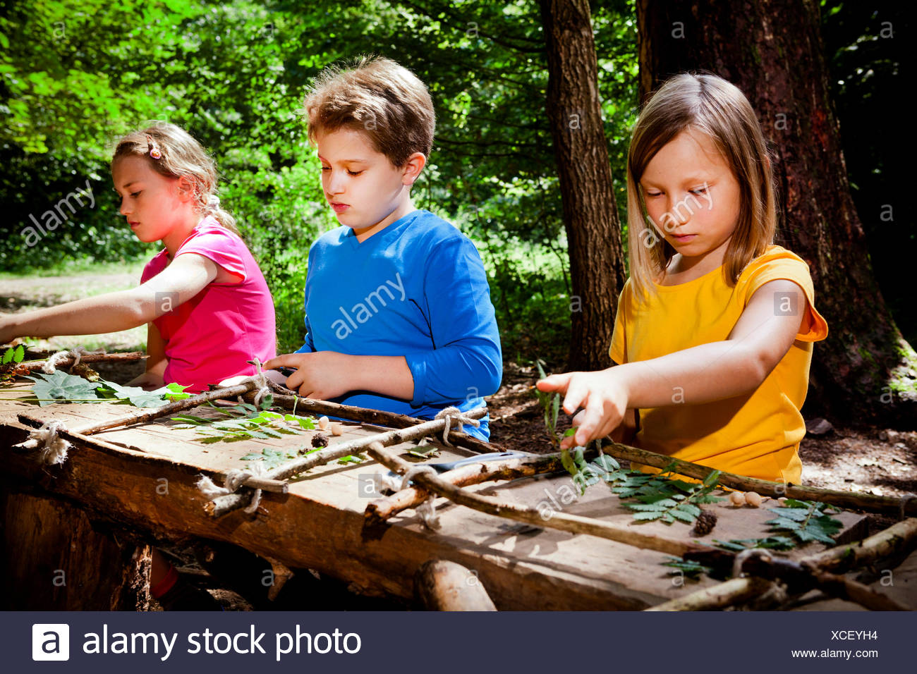 Children crafting in a forest camp, Munich, Bavaria, Germany - Stock Image