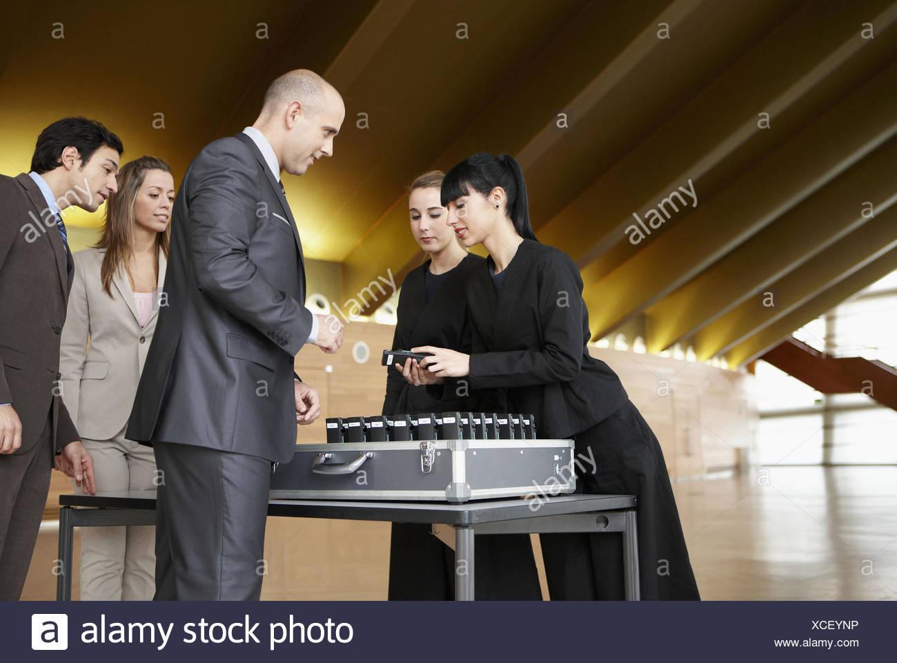 Simultaneous translation service, convention center, Kursaal Center. San Sebastian, Guipuzcoa, Basque Country, Spain - Stock Image