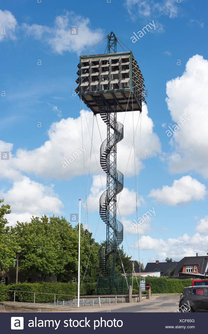 Moderner Kirchturm mit 48 Glocken, 1970, Nörrelandskirche, von Architekten-Ehepaar Exner, 1969, Holstebro,  Region Midtjylland, Dänemark - Stock Image