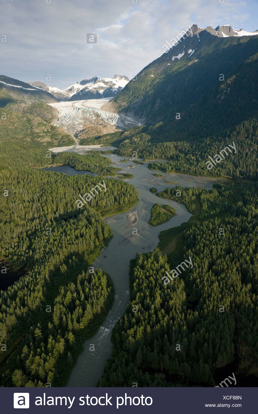 Aerial view of Herbert Glacier and river as it winds its way down from the Juneau Icefield, Tongass National Forest, Alaska - Stock Image