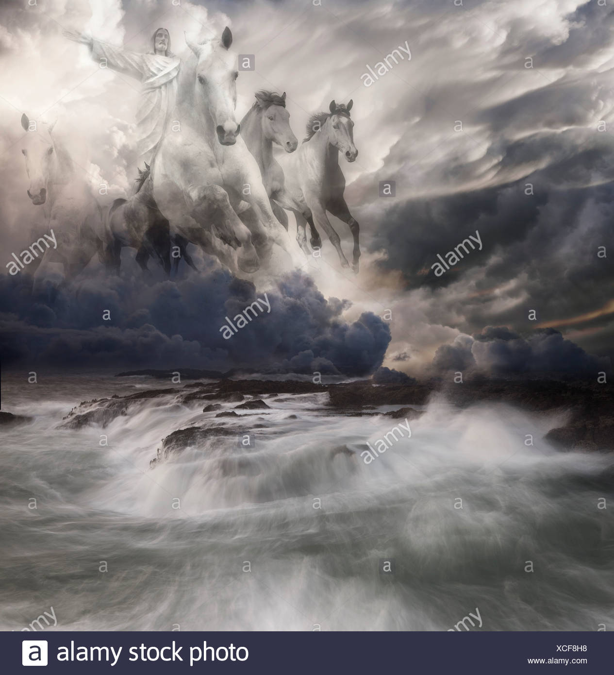 Composite Of Christ S Second Coming On White Horse Stock Photo Alamy