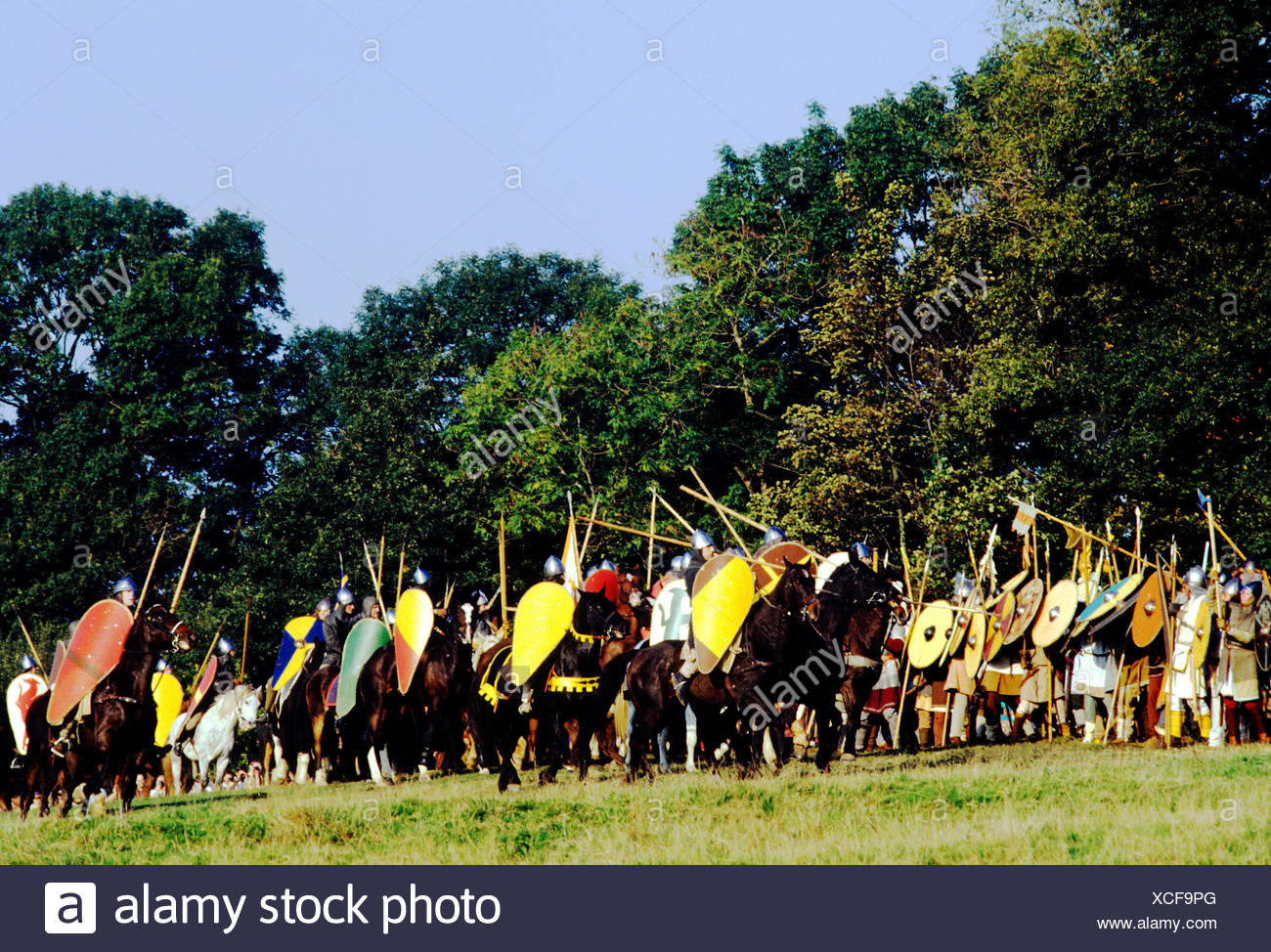 Battle of Hastings re-enactment, Saxon and Norman warriors, Battle Abbey, Sussex England UK famous battles - Stock Image