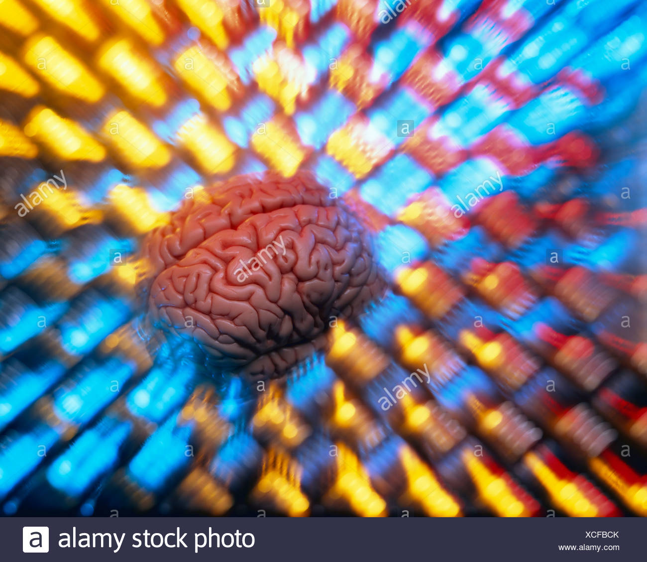 Brain, distorted, abstract, illustration, symbolic image for thinking - Stock Image