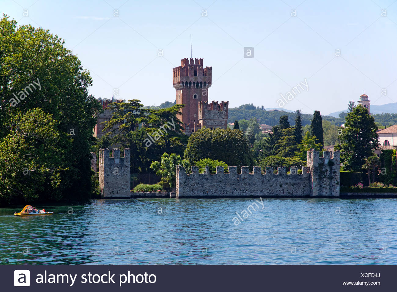 Scaliger castle, 9th century, one of the best preserved fortifications on Lake Garda, , Verona province, Veneto, Italy, Europe - Stock Image
