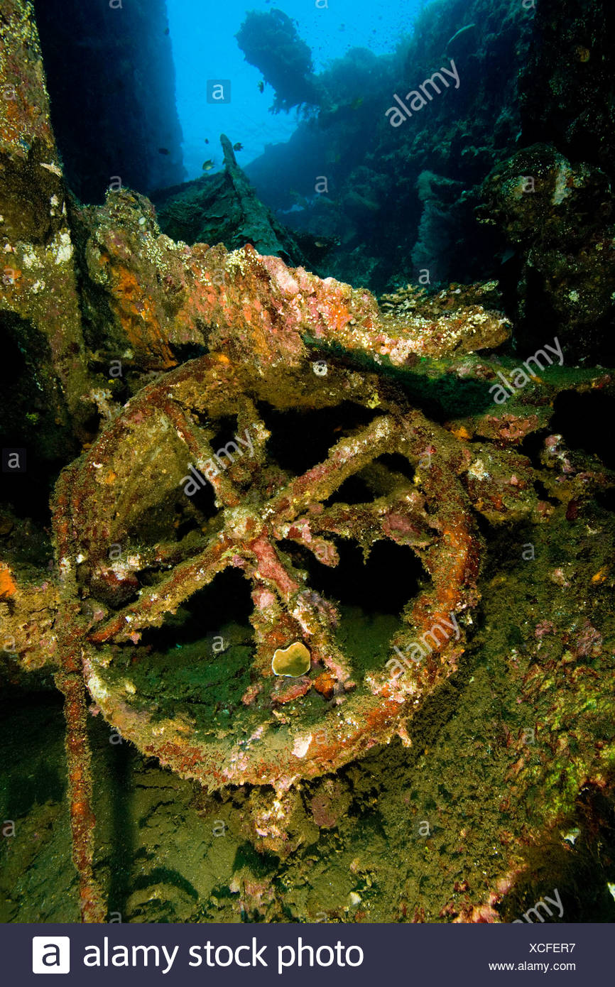 Wreck of 'Liberty', an American cargo ship sunk by Japanese in 1942. - Stock Image
