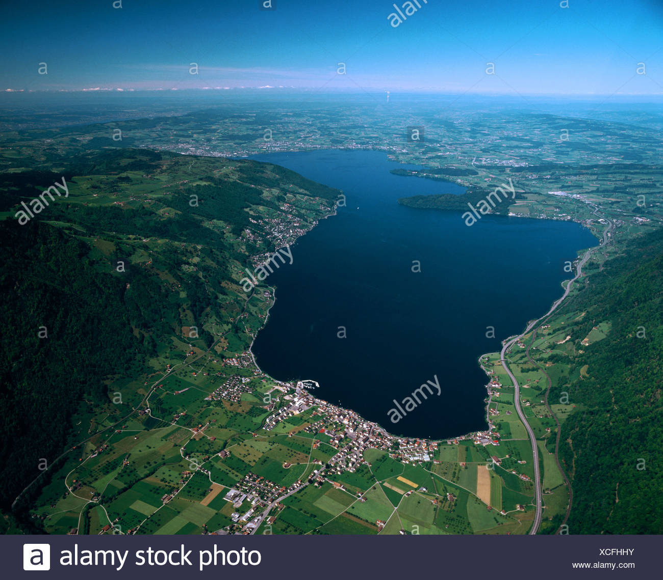 behind Zurich cartographic aerial photo aerial view scenery Switzerland from above full shot in front ahead - Stock Image