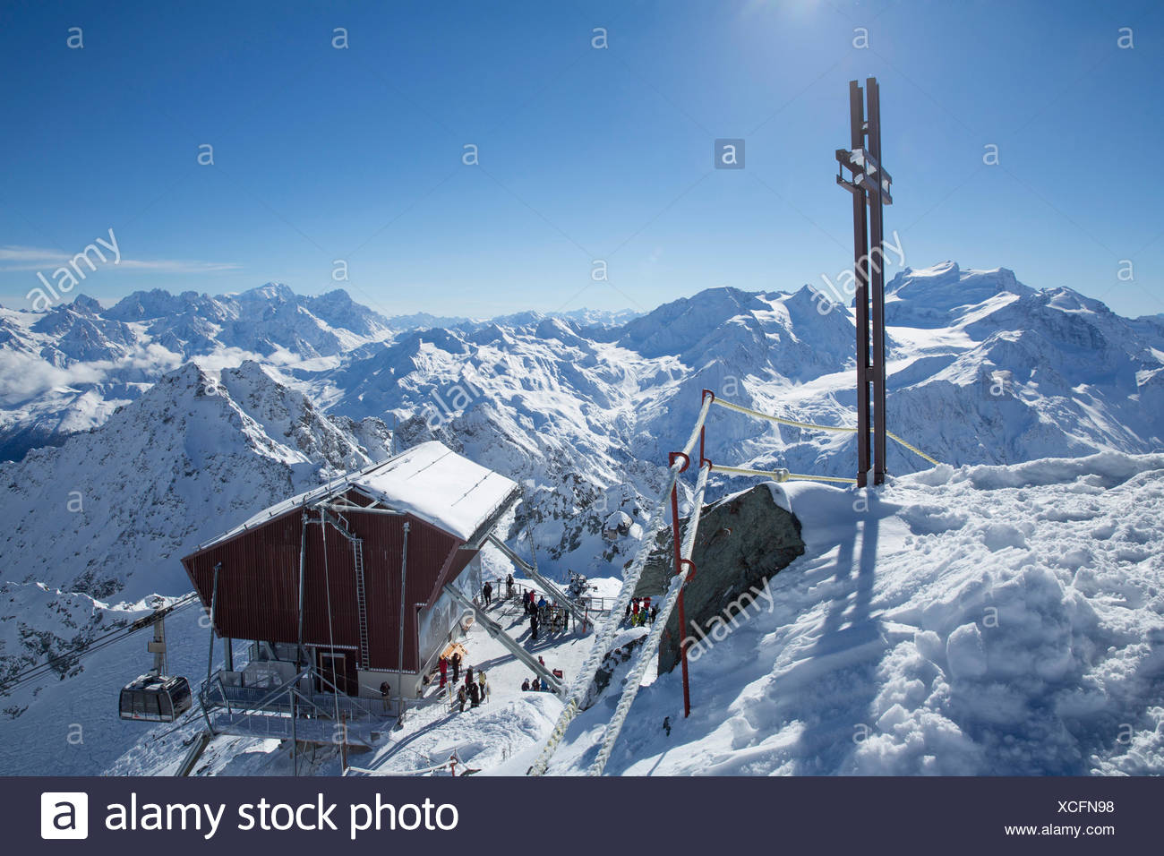 Mont fort, ropeway, cable railway, Mont fort, Verbier, view, Grand Combin, Montblanc, winter, canton, VS, Valais, mountain, moun Stock Photo