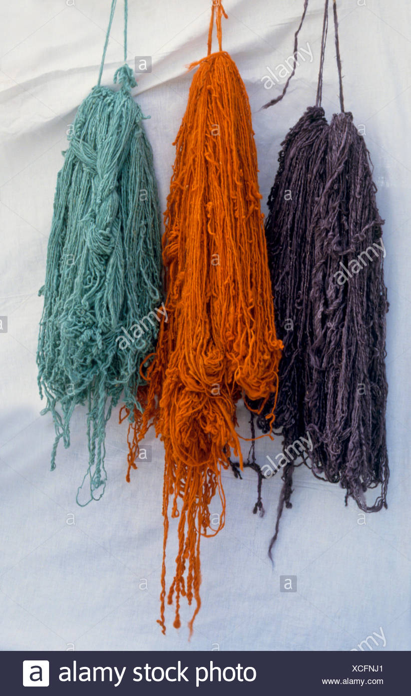 Tunisia, Brightly dyed wool hung up to dry Stock Photo