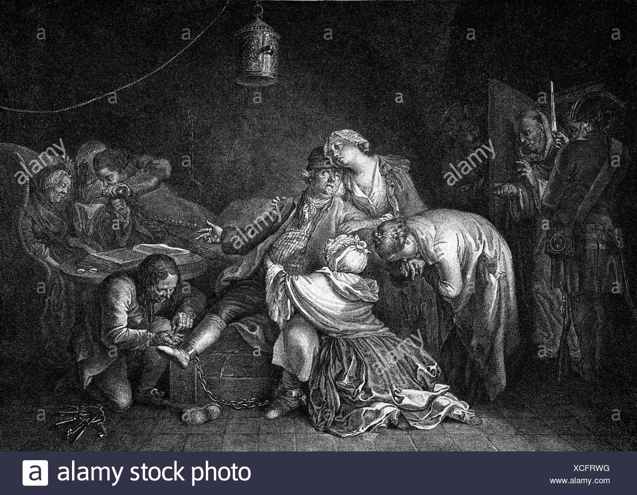 Calas, Jean, 19.3.1698 - 9.3. 1762, French merchant, Huguenot martyr, after engraving by Daniel Chodowiecki 'Jean Calas Bidding Farewell to his Family' (1767), Additional-Rights-Clearances-NA - Stock Image